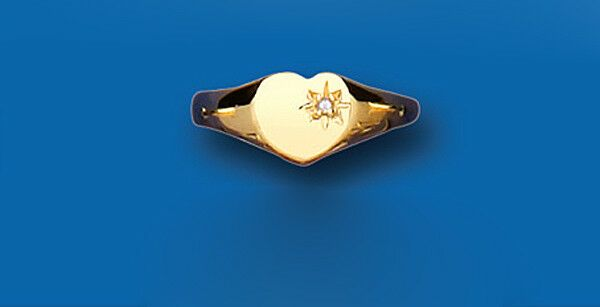 Child's Diamond Signet Ring Yellow Gold Heart Hallmarked British Made sizes A-H