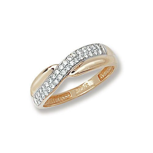Crossover Ring Yellow Gold Ladies Ring Cubic Zirconia Solid Gold Ring Hallmarked Woodlandhideawaypark Co Uk
