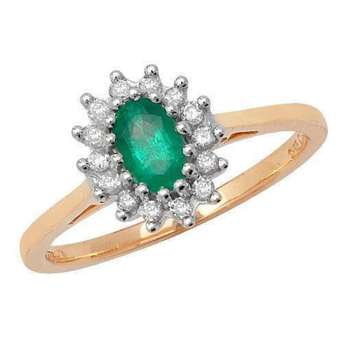 9ct Yellow Gold on Silver Created Emerald 6 x 4mm /& Cluster Diamond Ring