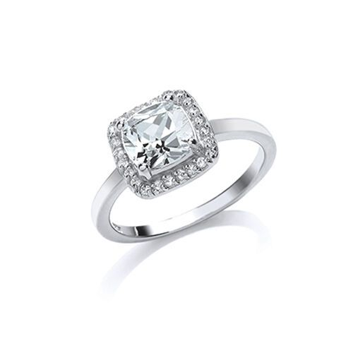 Cluster Ring Platinum Plated Sterling Silver Engagement Ring