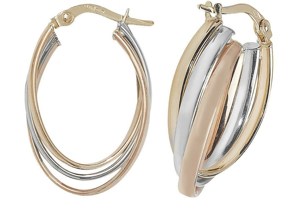9CT YELLOW WHITE /& ROSE GOLD CREOLE HOOP EARRINGS