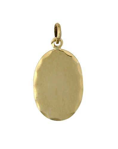 Yellow Gold Dog Tag Pendant Oval Hallmarked British Handmade to order